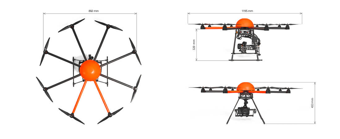 Seitenansicht und Aufsicht auf eine HEIGHT TECH HT-8 Drohne mit Maßen beschriftet
