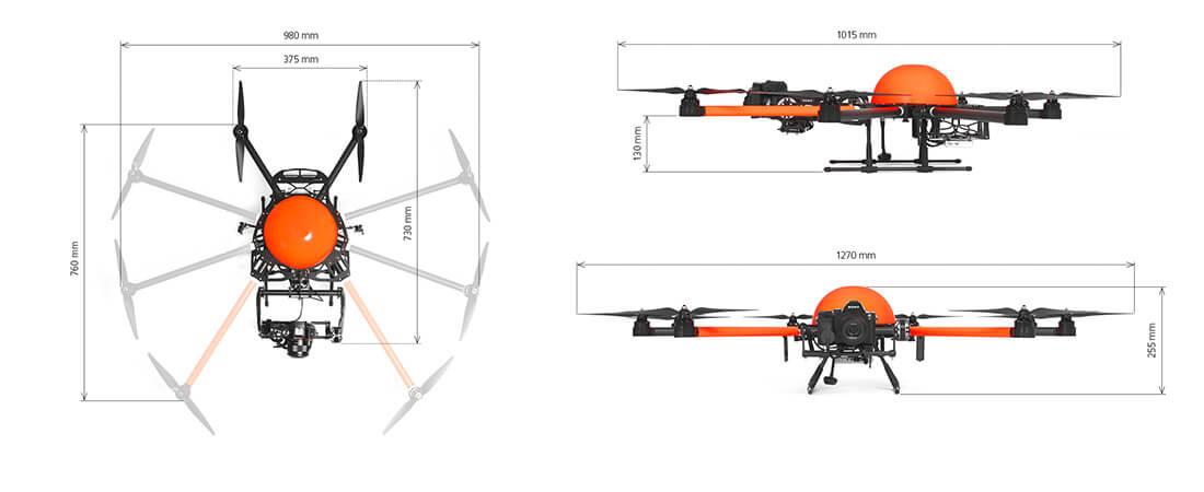 Seitenansicht und Aufsicht auf eine HEIGHT TECH HT-8 C180 Drohne mit Maßen beschriftet