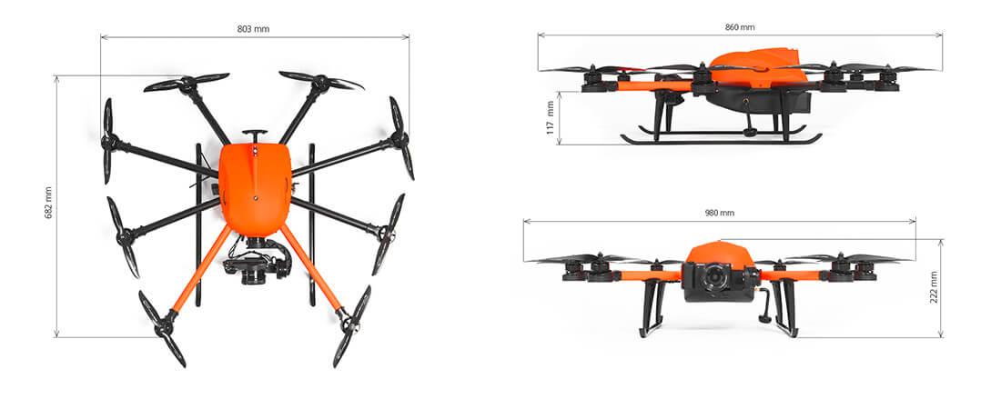 Seitenansicht und Aufsicht auf eine HEIGHT TECH INSPECTOR S Drohne mit Maßen beschriftet